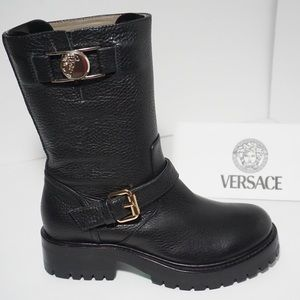 🆕Versace Collection Black Leather Moto Boots